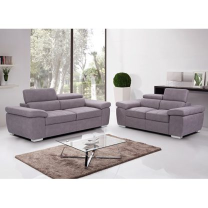 An Image of Amando Fabric 2 Seater And 3 Seater Sofa Suite In Mushroom