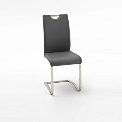 An Image of Koln Dining Chair In Grey Faux Leather With Chrome Legs