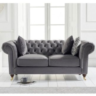 An Image of Holbrook Chesterfield 2 Seater Sofa In Grey Velvet