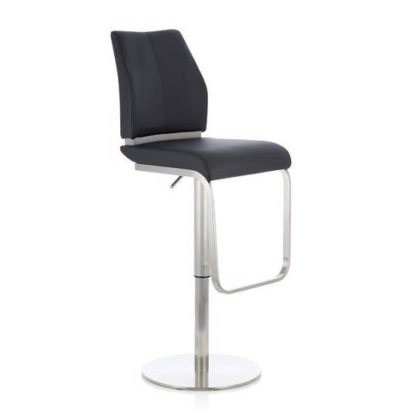 An Image of Terry Bar Stool In Black Faux Leather And Stainless Steel Base