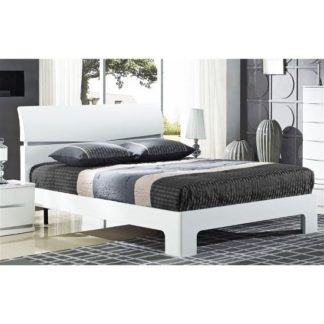 An Image of Alcott Modern Double Bed In White High Gloss