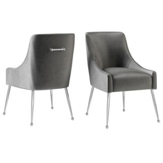 An Image of Claudia Dark Grey Velvet Fabric Dining Chairs In Pair