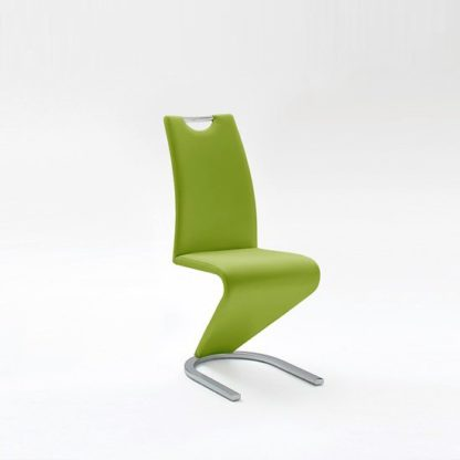 An Image of Amado Dining Chair In Lime Faux Leather With Chrome Base