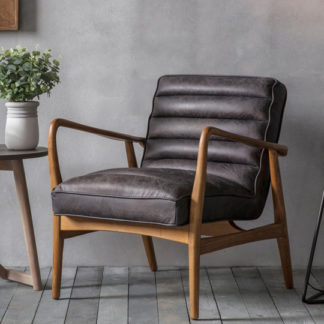 An Image of Datsun Leather Bedroom Armchair In Antique Ebony