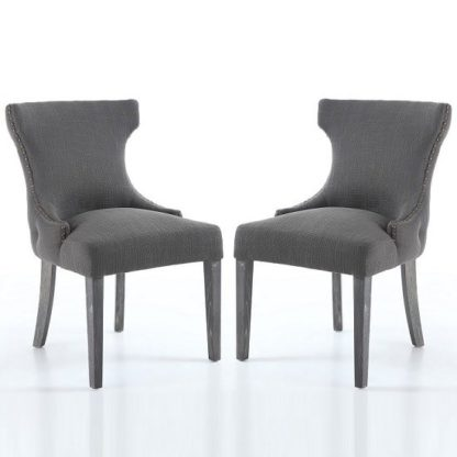 An Image of Marcel Fabric Dining Chair In Grey With Wooden Legs In A Pair