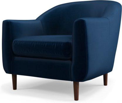 An Image of Custom MADE Tubby Armchair, Regal Blue Velvet with Dark Wood Legs