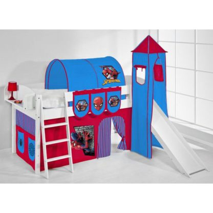 An Image of IDA Spiderman Children Bed In White With Tower And Curtains