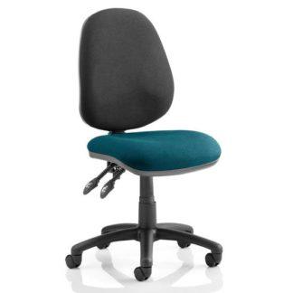 An Image of Luna II Black Back Office Chair In Maringa Teal