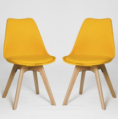 An Image of Regis Dining Chair In Yellow With Wooden Legs In A Pair