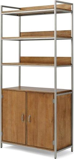 An Image of Lomond Modular Shelving with Storage, Honey Mango Wood & Brushed Steel