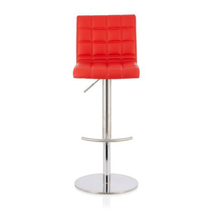 An Image of Jorden Bar Stool In Red Faux Leather And Stainless Steel Base