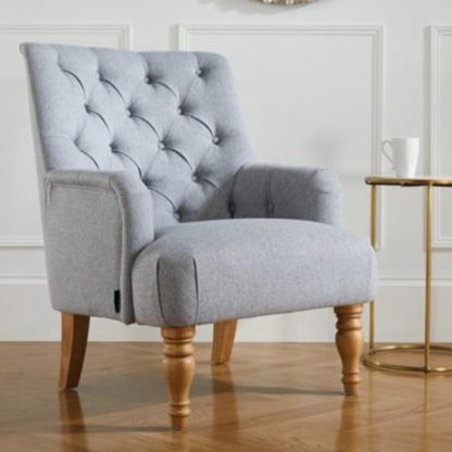 An Image of Padstow Fabric Lounge Chaise Armchair In Grey