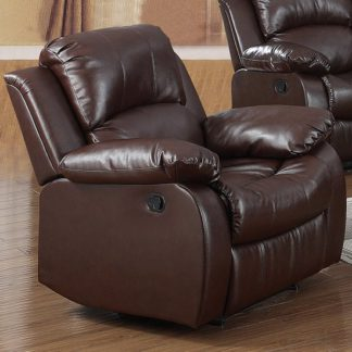 An Image of Piscium Leather Full Bonded Recliner 1 Seater Sofa In Brown