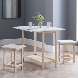 An Image of Bergen Bar Set With 2 Stools In White Lacquer