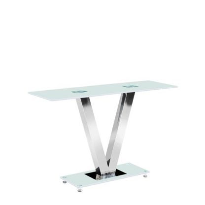 An Image of Venus Console Table Rectangular In Frosted White Glass