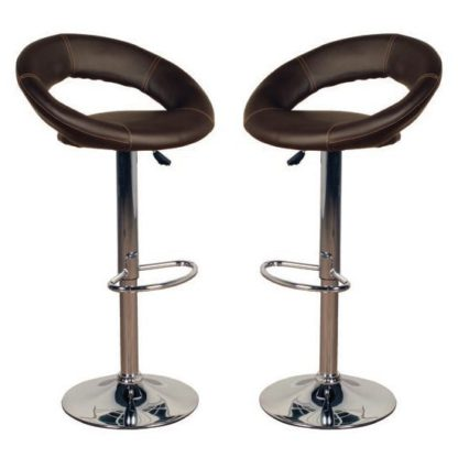 An Image of Eclipse Brown Leather Bar Stools In Pair