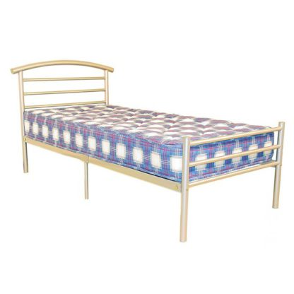 An Image of Brenington Metal Single Bed In Silver