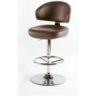An Image of Bingo Brown Bar Stool In Faux Leather With Chrome Base