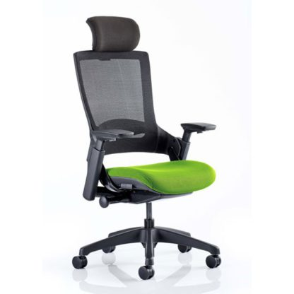 An Image of Molet Black Back Headrest Office Chair With Myrrh Green Seat