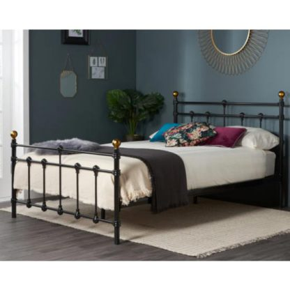 An Image of Atlas Steel Small Double Bed In Black