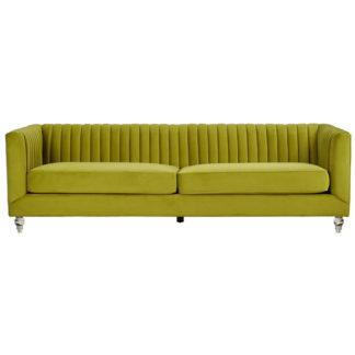 An Image of Aljanah Velvet 3 Seater Sofa In Green