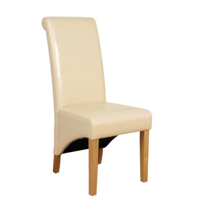 An Image of Rocco PU Leather Dining Dining Chair In Ivory