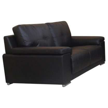 An Image of Ranee Bonded Leather And PU 2 Seater Sofa In Black