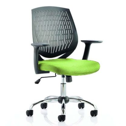 An Image of Dura Black Back Office Chair With Myrrh Green Seat