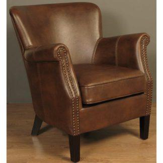 An Image of Aquarii Leather Air Fabric Lounge Armchair Tan