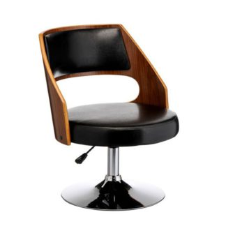 An Image of Bordo Bar Chair In Black Padded Seat With Chrome Base