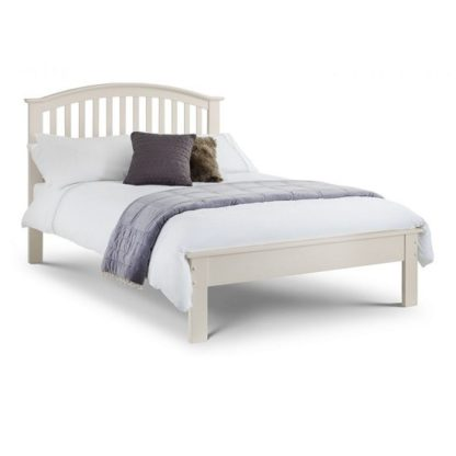 An Image of Brashear Wooden Double Size Bed In Stone White Lacquer