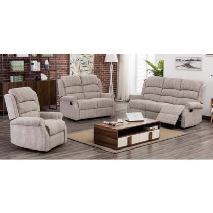 An Image of Tegmine Fabric 3 Seater Sofa And 2 Armchairs Suite In Natural