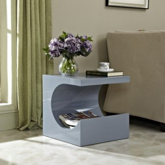 An Image of Figure Modern Side Table In Grey High Gloss