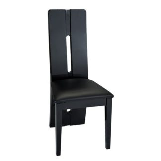 An Image of Fiesta Black High Gloss Finish Faux Leather Dining Chair