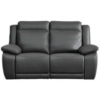 An Image of Baxter Recliner 2 Seater Sofa In Dark Grey Leather Air Fabric