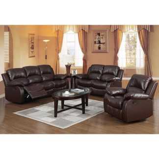 An Image of Piscium Leather Full Bonded Recliner Sofa Suite In Brown