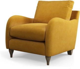 An Image of Custom MADE Sofia Armchair, Plush Tumeric Velvet with Light Wood Leg