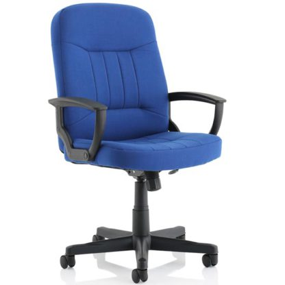 An Image of Hague Fabric Office Chair In Royal Blue With Fixed Arms
