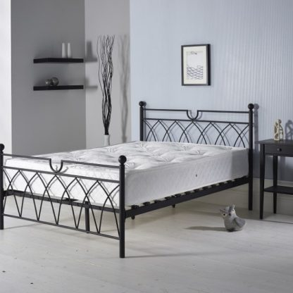 An Image of Dales Contemporary Metal Double Bed In Black