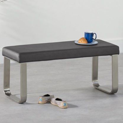 An Image of Washington Small Dining Bench In Grey Faux Leather