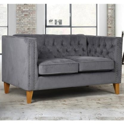 An Image of Atherton Fabric 2 Seater Sofa In Grey Velvet With Wooden Legs