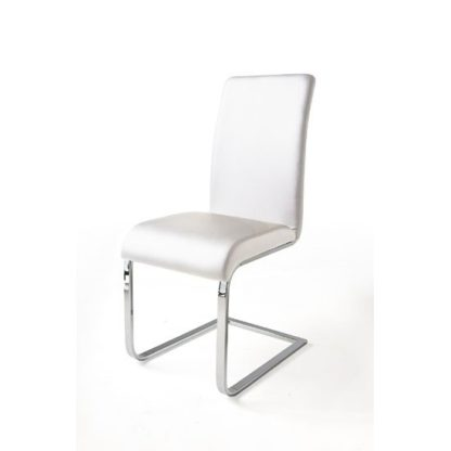 An Image of Lotte I Metal Swinging White Faux Leather Dining Chair