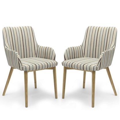 An Image of Zayno Fabric Dining Chair In Duck Egg Blue Stripe In A Pair