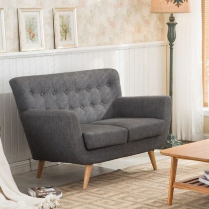 An Image of Hadley 2 Seater Sofa In Grey Fabric With Wooden Legs