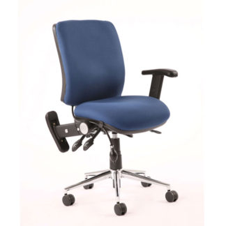 An Image of Chiro Fabric Medium Back Office Chair In Blue With Folding Arms