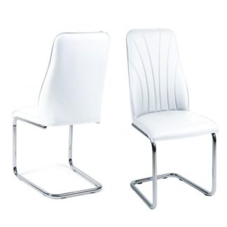 An Image of Irma Dining Chairs In White Faux Leather In A Pair