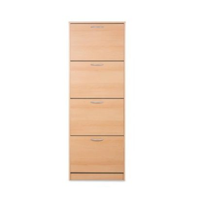 An Image of Alcott Contemporary Shoe Cabinet In Beech With 4 Doors