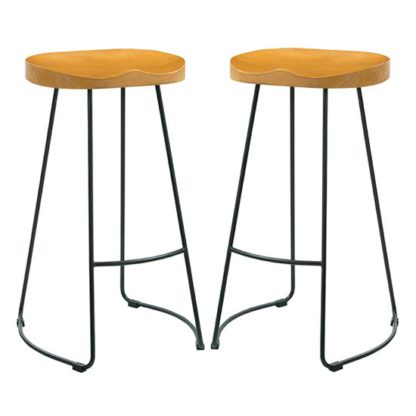 An Image of Bailey Black Metal Leg Bar Stool In Pair With Pine Wood Seat
