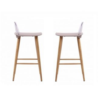 An Image of Madisson Stone Bar Stool With Oak Look Metal Legs In A Pair