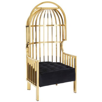 An Image of Fafnir Cage Design Occasional Chair In Gold